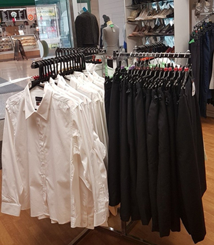 Garments in a Salvation Army store
