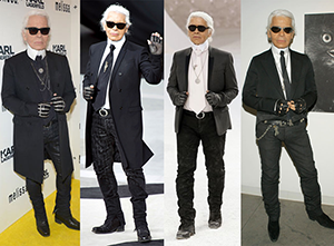 Karl Lagerfeld in his trademark edgy uniform