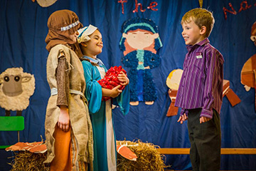 Owen alongside Mary and Joseph